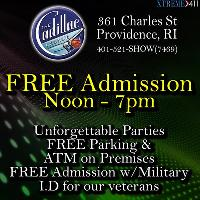FREE Admission at Cadillac Lounge 12 pm - 7 pm