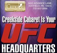See All The UFC Fights @ Creekside! 18 Foot Hi Def Screen Panoramic Views!
