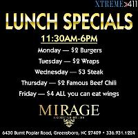 Lunch Specials at Mirage NC