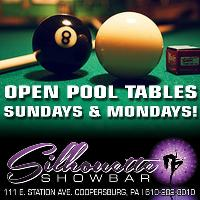 Open Pool Tables Sunday & Mondays! Multiple TV's To Watch Sports Too!